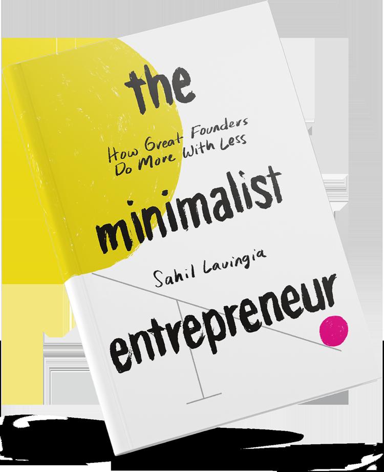 The Minimalist Entrepreneur book floating on studio background