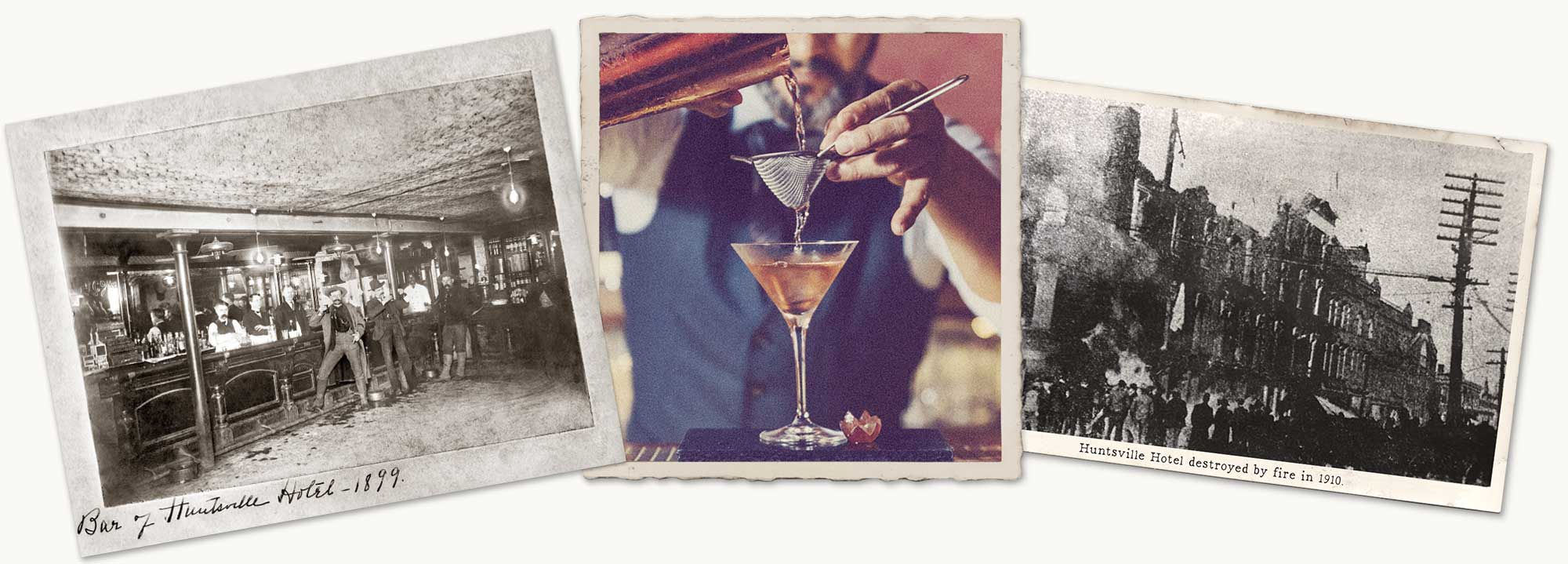 collage of images including a bartender and historical photos