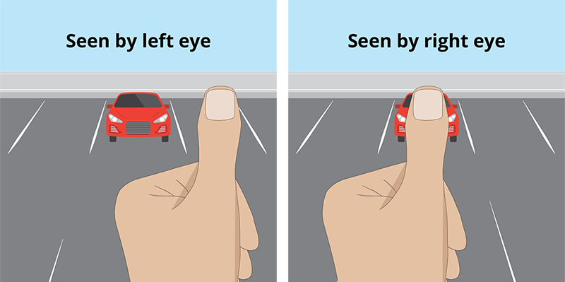 What happens when you see your finger with your left eye and right eye.