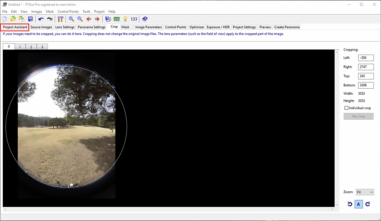 Go to Crop tab. Adjust the circular crop to cover and match the image size.