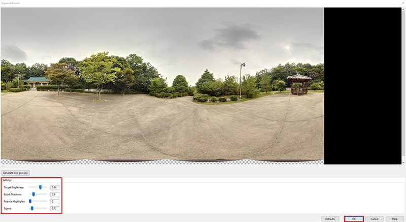 You can adjust the color of a 360º photo in PTGui by moving the scale bars.