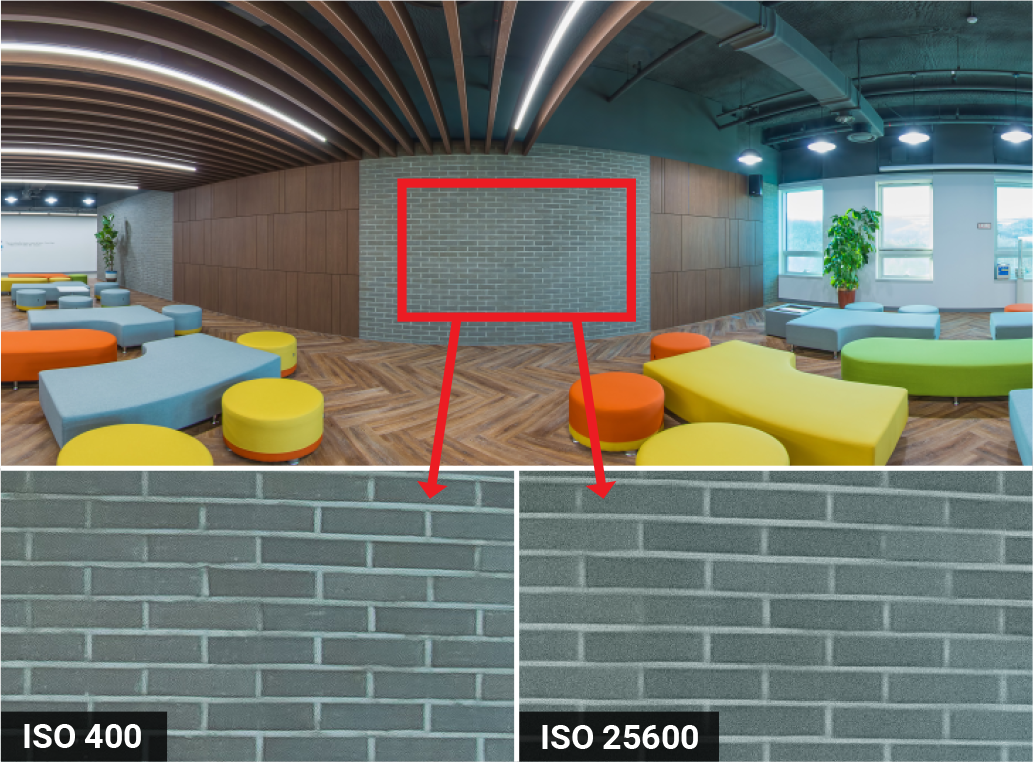 Camera Setting for the 360 virtual tour—ISO Comparison: Low ISO vs High ISO