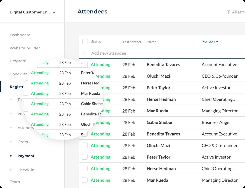 Event planner attendee management