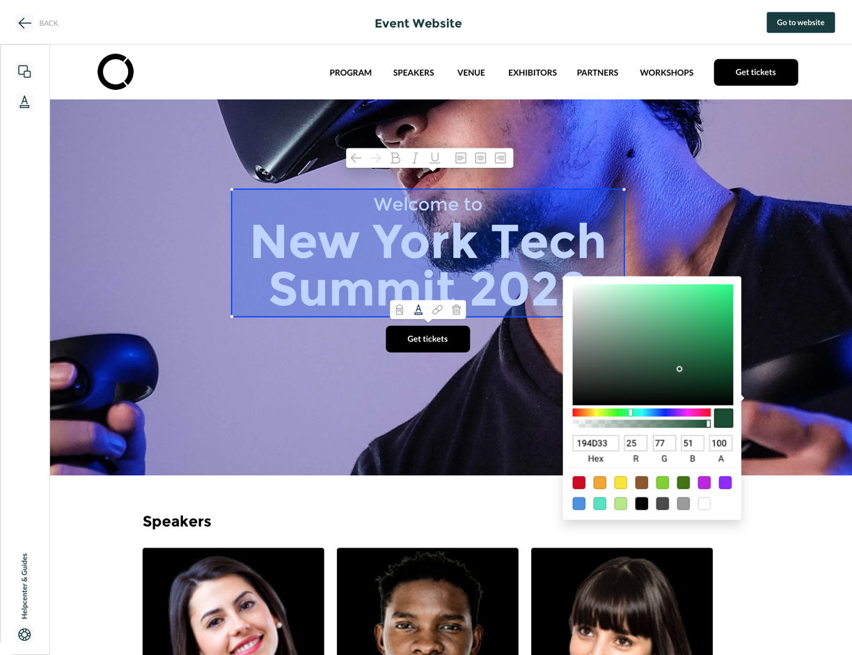 Event website designer builder