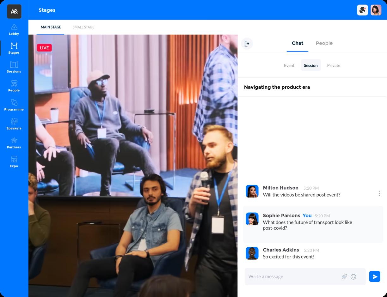 Virtual event platform branded screenshot