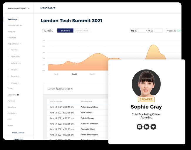 Event platform screenshot