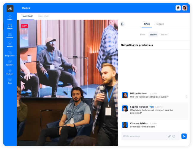 Virtual event platform screenshot