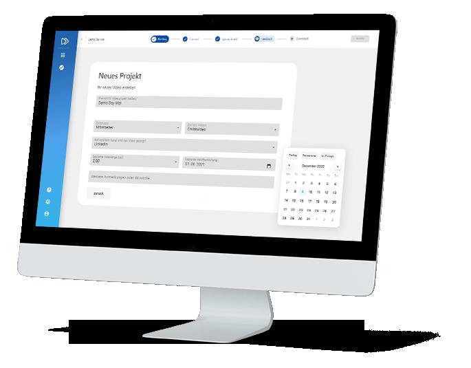 Das ist das Briefingtool auf der velox video Plattform. Mit dem einfachen Kalender ermöglicht es Ihnen übersichtlich einen Zeitraum auszuwählen indem Sie Ihr Video produzieren lassen können.