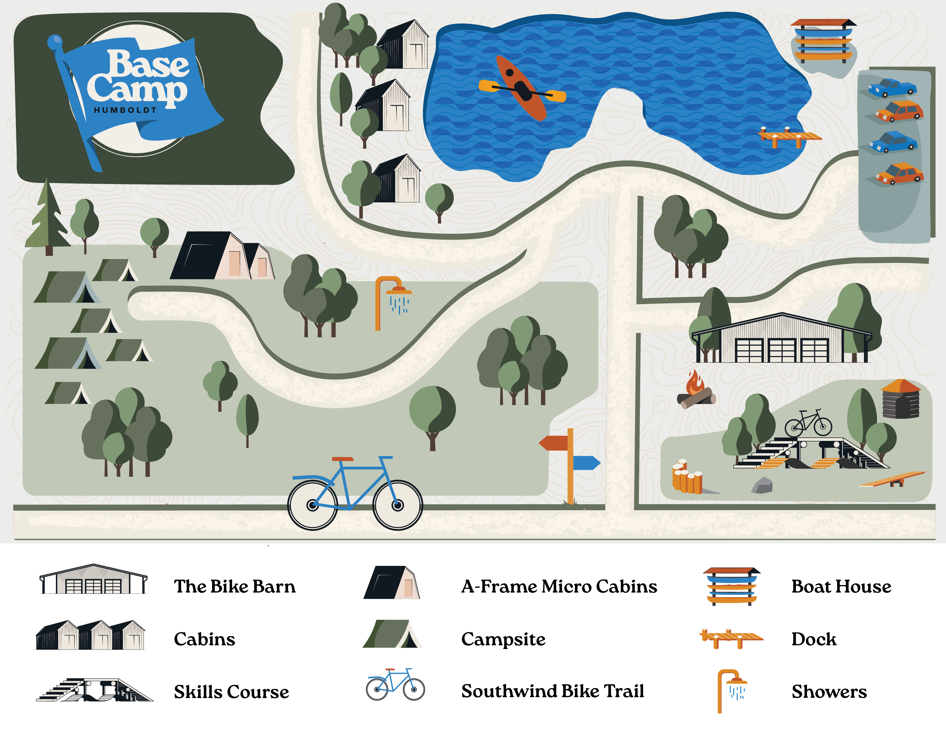 BaseCamp Humboldt map, for camping, glamping, biking, and all of our amenities.