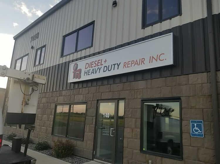 Entrance to OTR Diesel & Heavy Duty Repair Inc. in Red Deer, AB