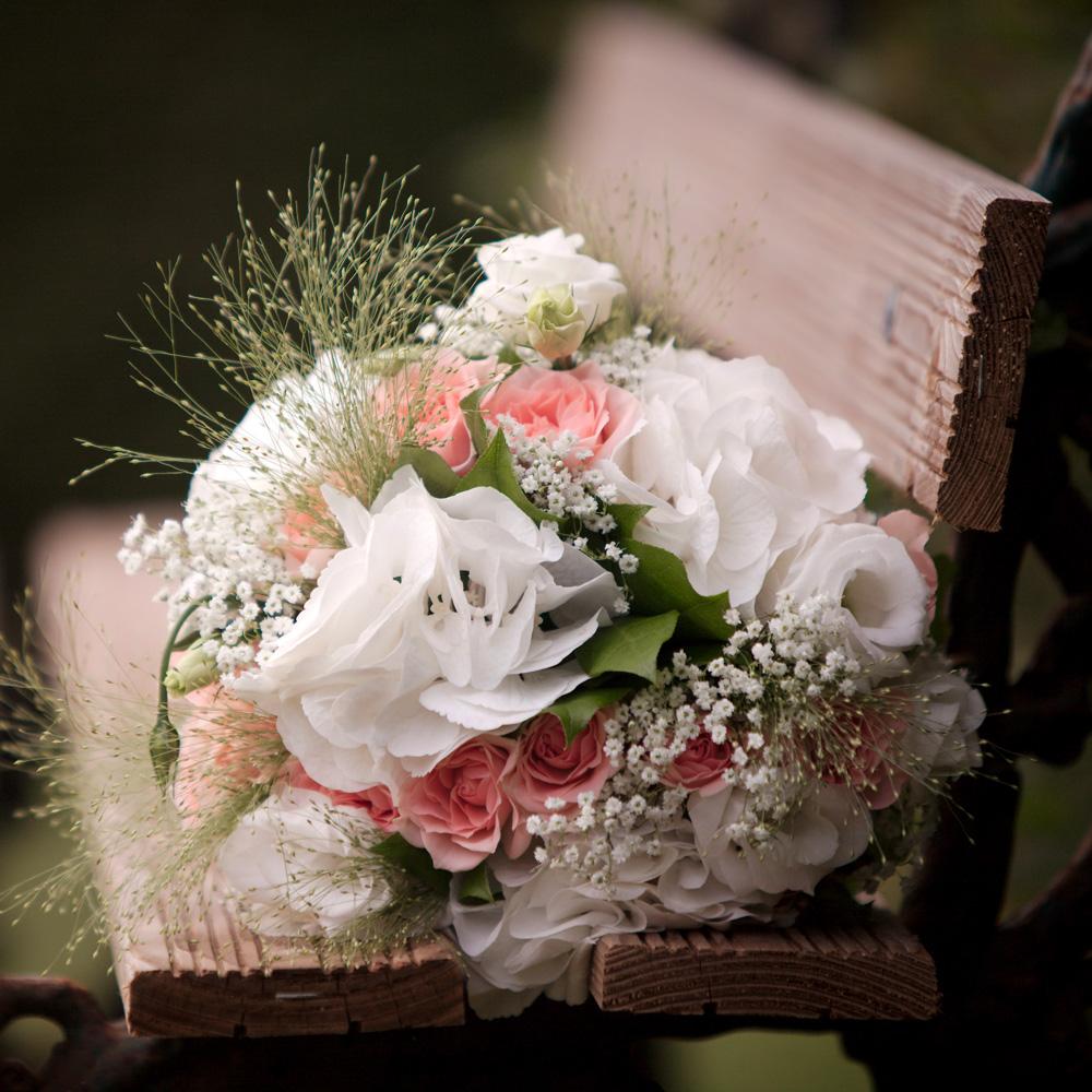 fleurs sur banc