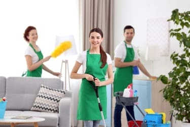 Crew cleaning a home