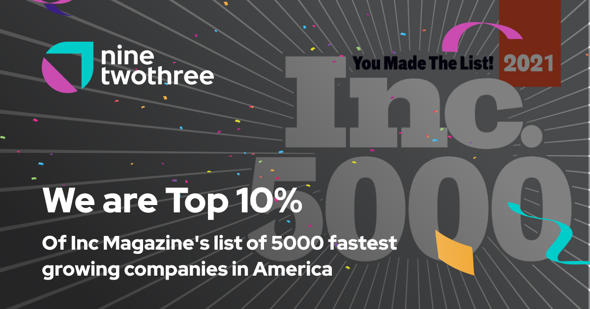 NineTwoThree Digital Ventures Breaks into Top 500 Ranking for Fastest Growing US Companies, Inc. 5000 List Ahead of Firm's 10th Anniversary