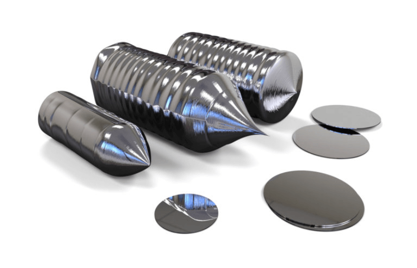 Silicon wafer ingots mid-processing.