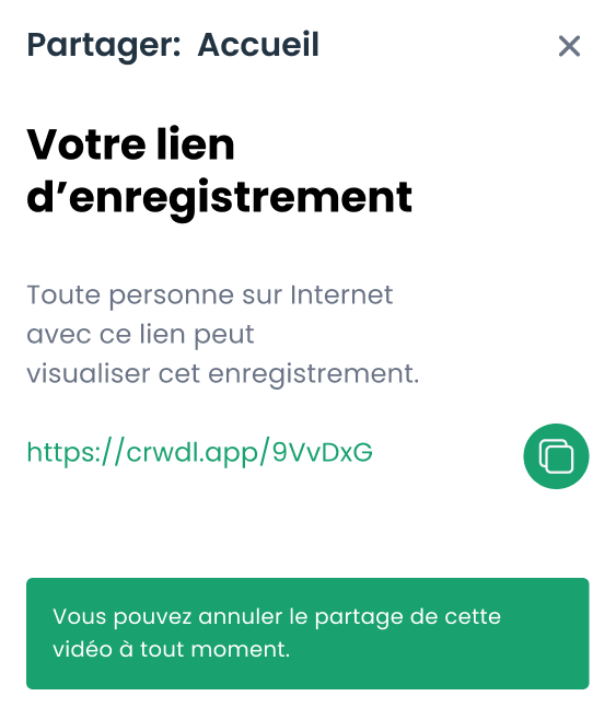 Recording sharing modal on the Crewdle application