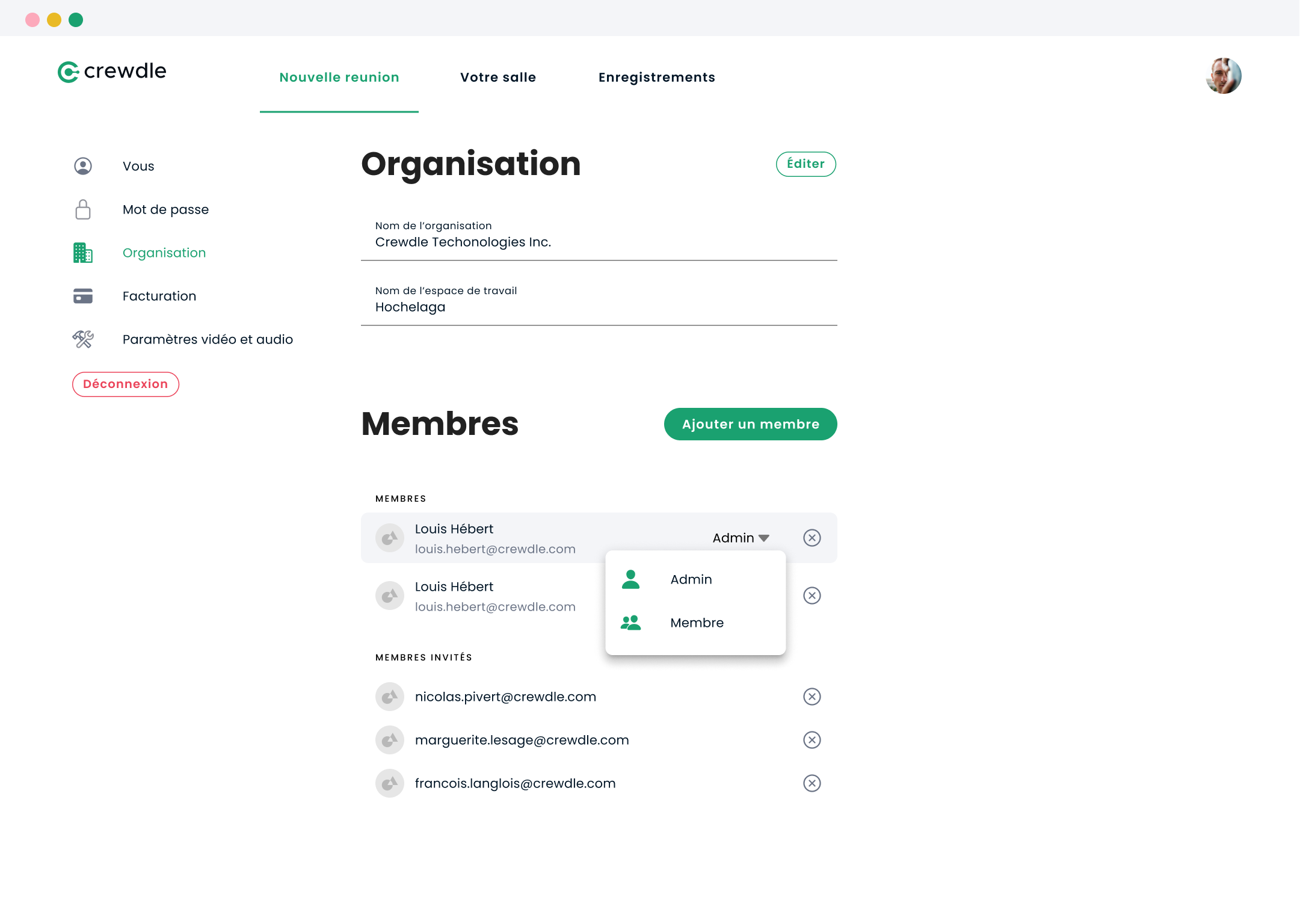 Organization setup in the Crewdle desktop interface