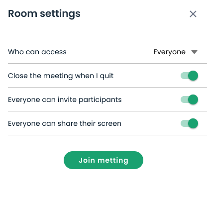 Personal room settings modal