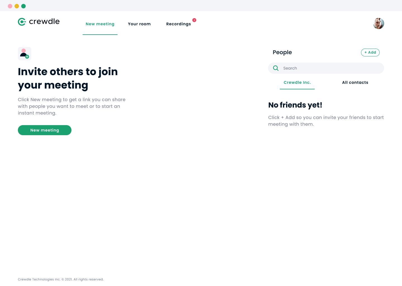 Crewdle application home page