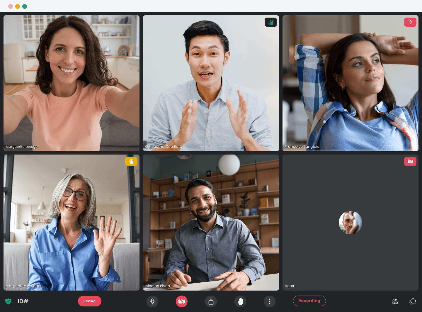 Six professionals attending an online meeting with the Crewdle application