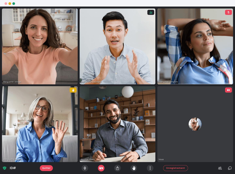 Six professionnels participant à une réunion en ligne avec l'application Crewdle