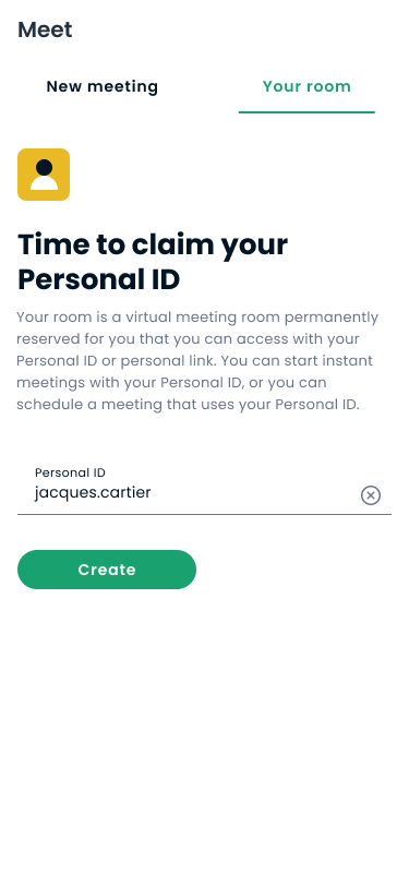 Your room tab on Crewdle mobile app