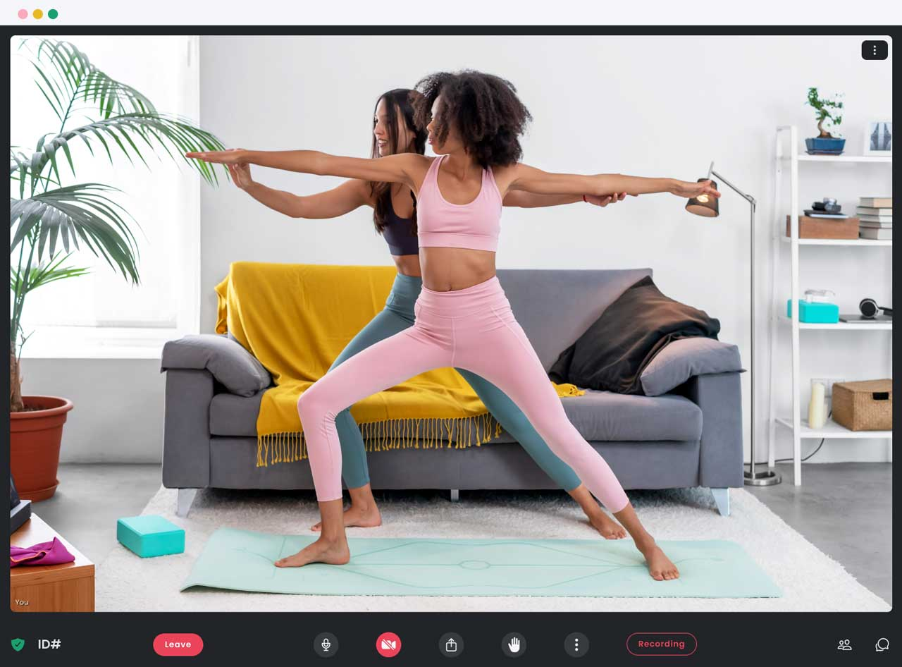 Two women giving an online yoga class using the Crewdle app.