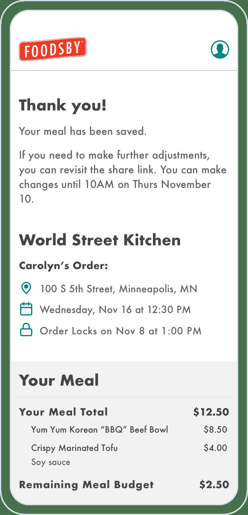 Foodsby Meetings Mobile UI
