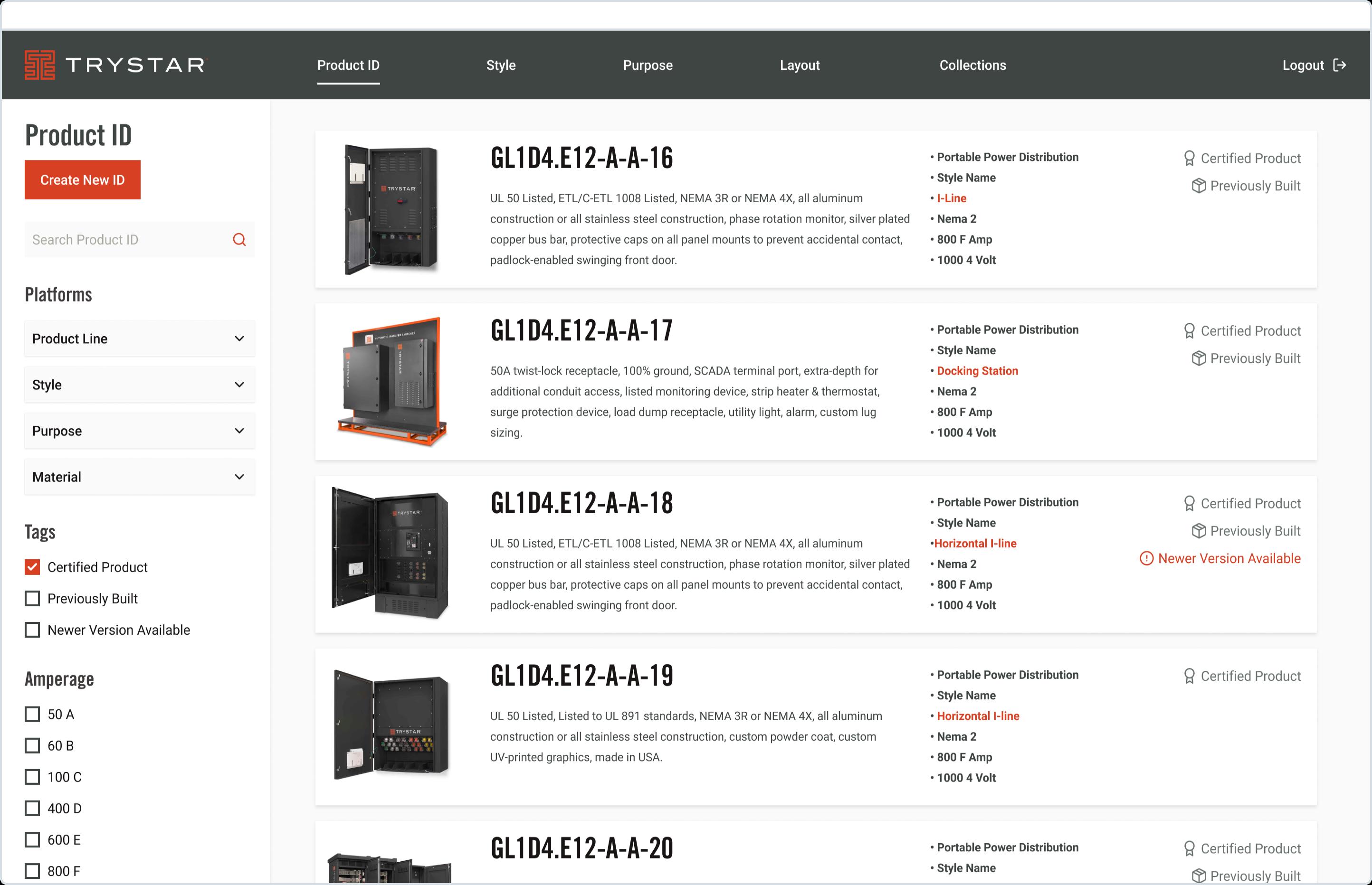 Trystar product list screen