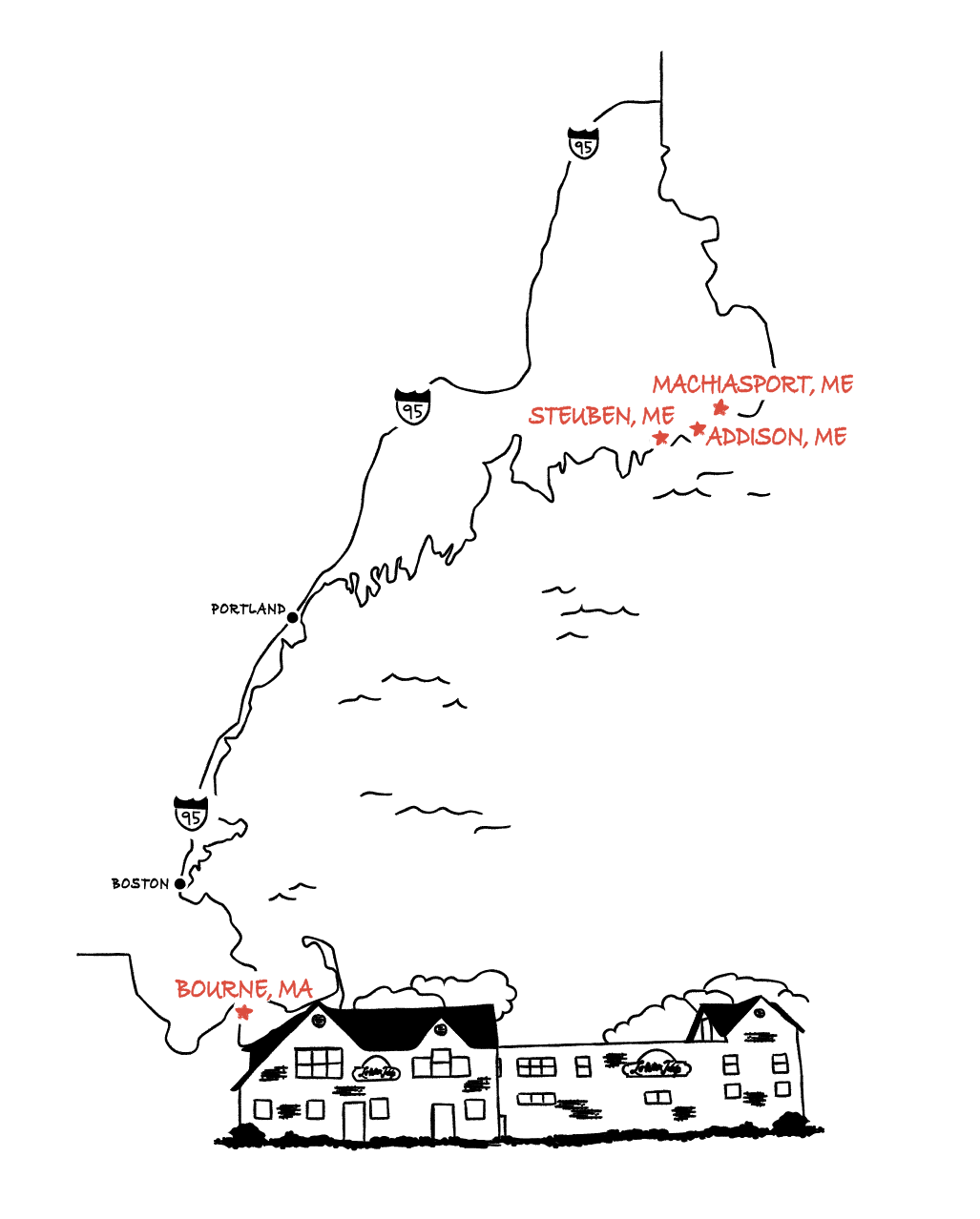 Illustration of Lobster Trap Co's facilities and operations