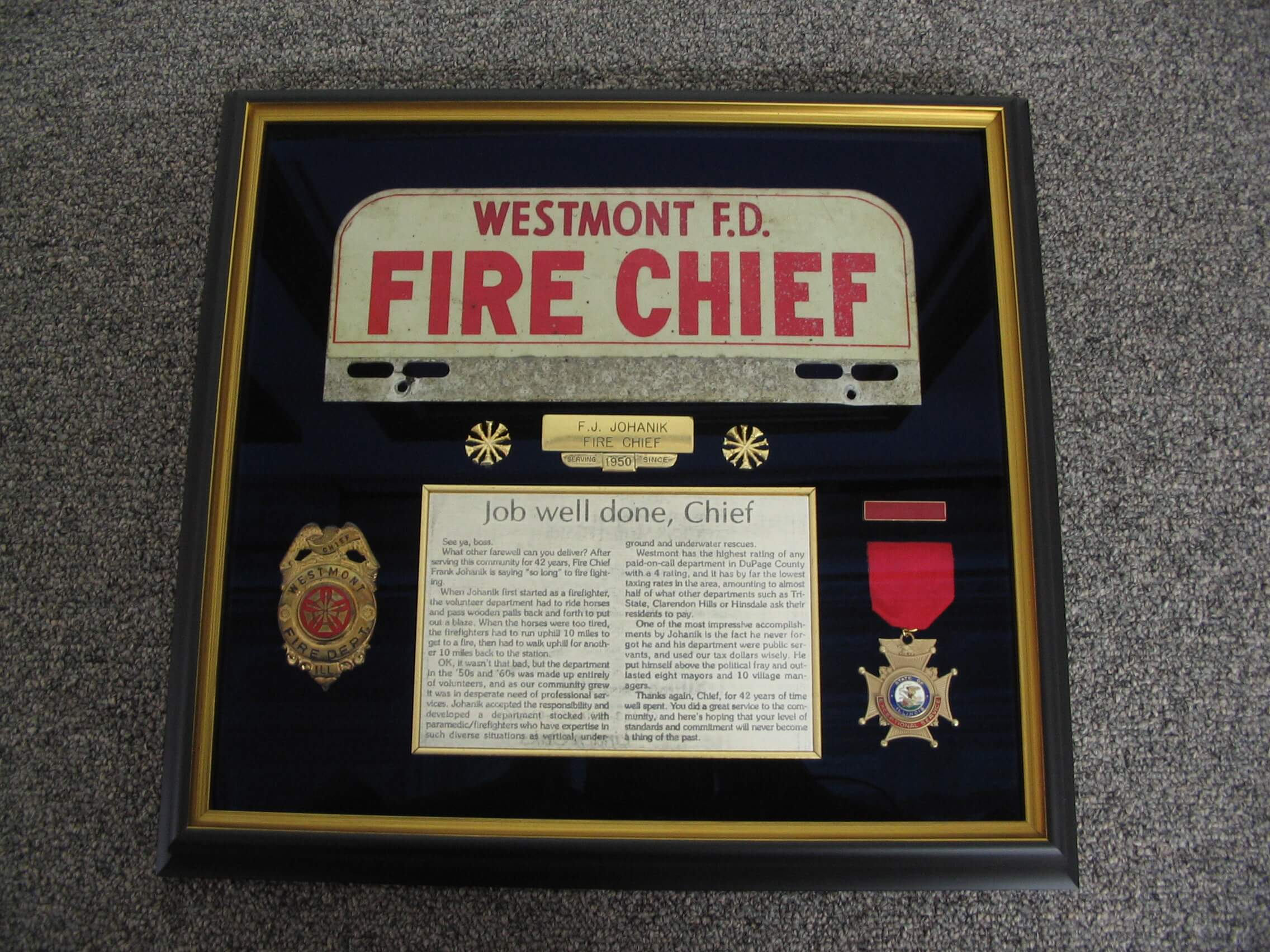 Fire Chief Westmont Snoopy framing job The Framemakers