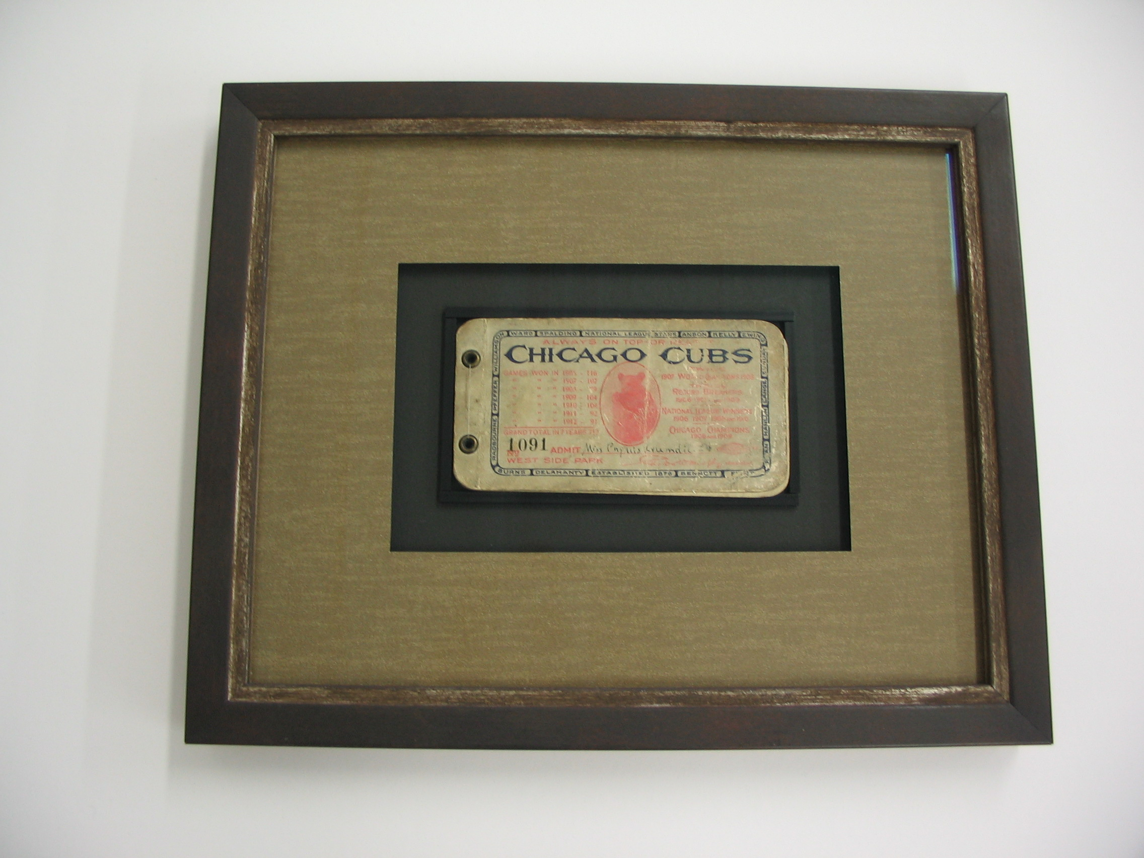 Chicago Cubs framed by The Framemakers