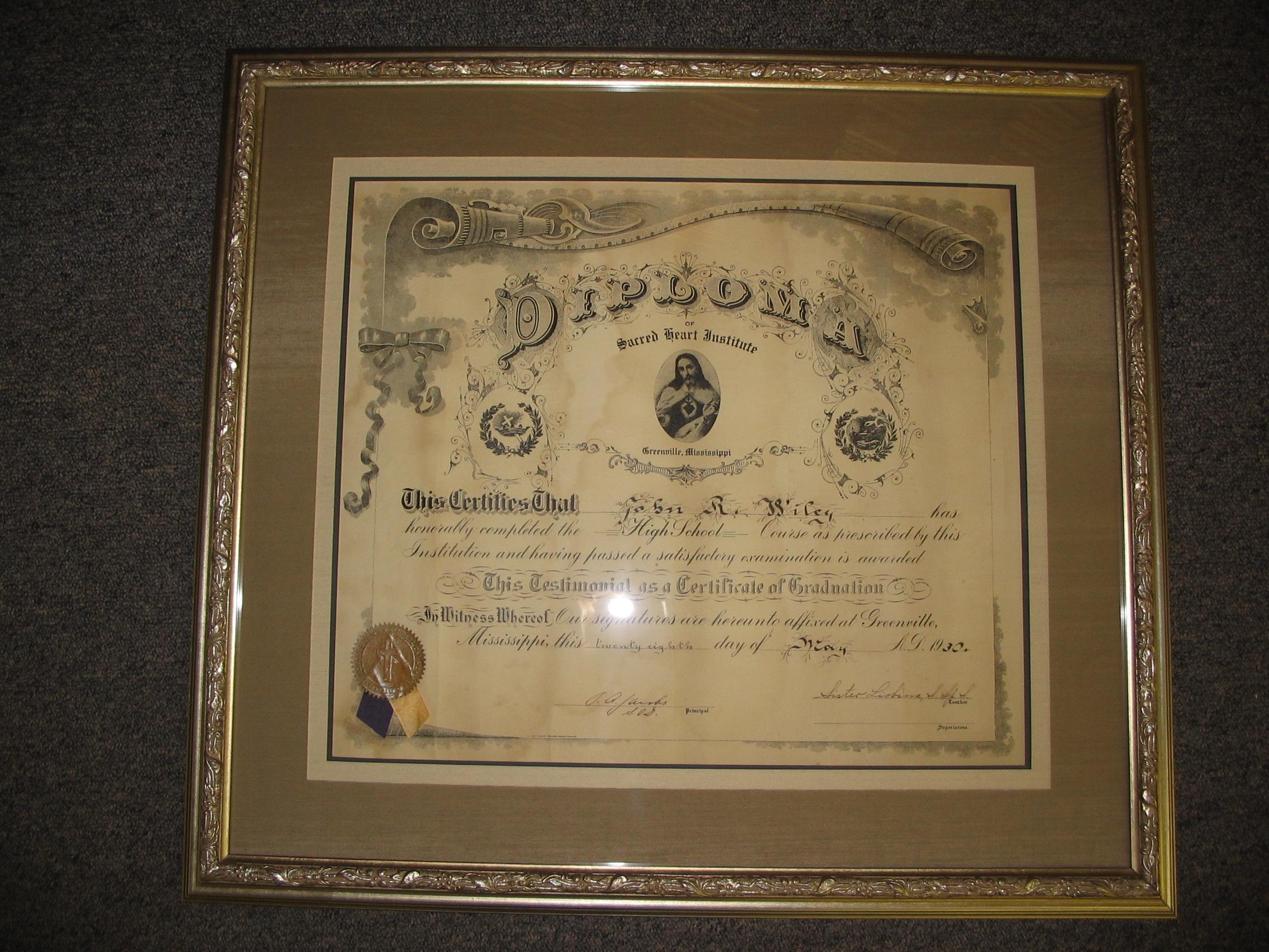 Diploma framed by The Framemakers