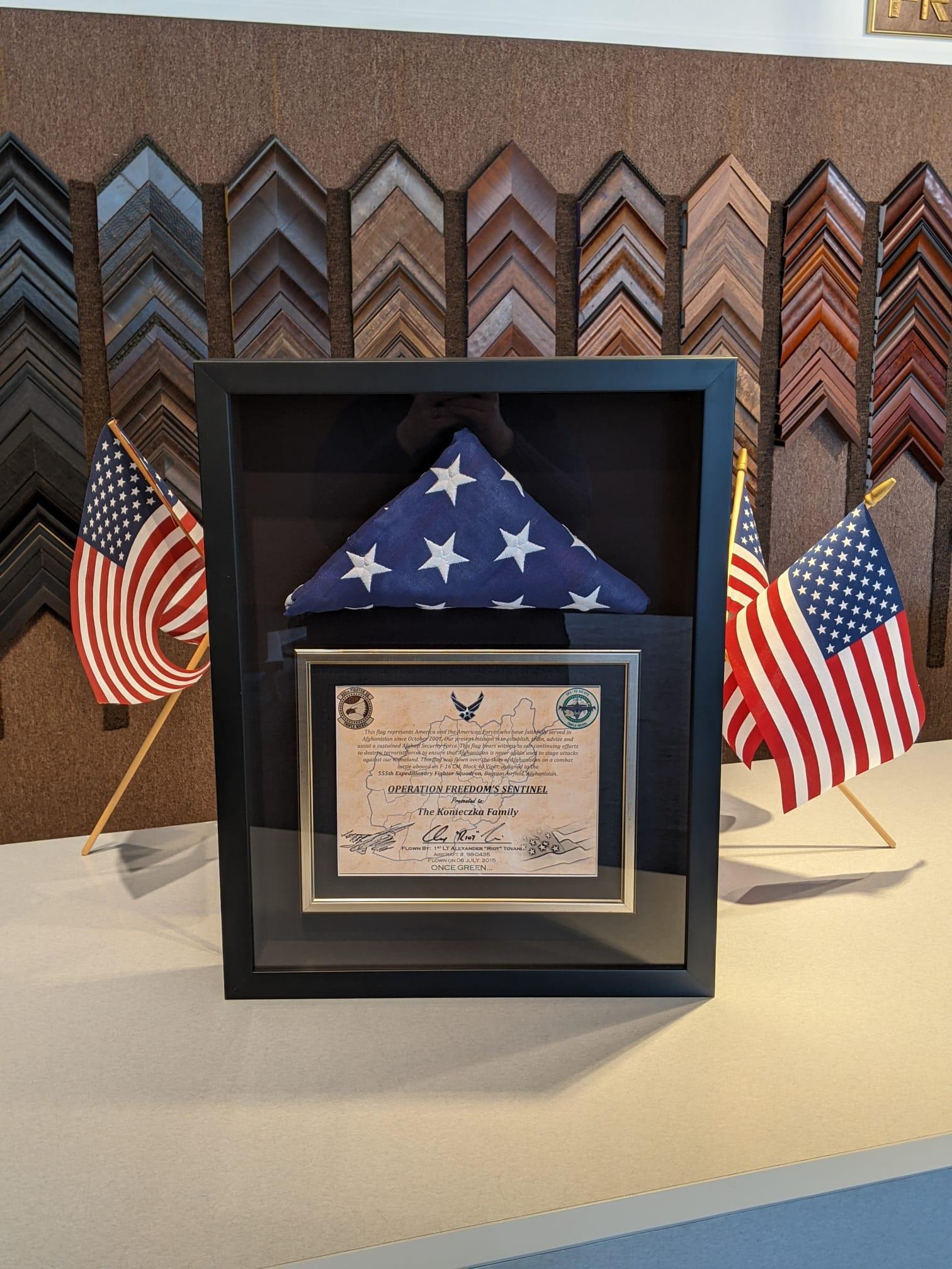 U.S.A. flag framed by The Framemakers