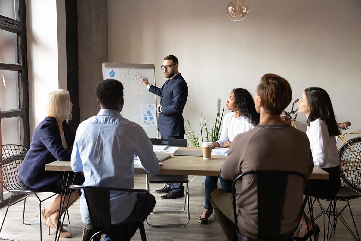 Business people with an instructor.