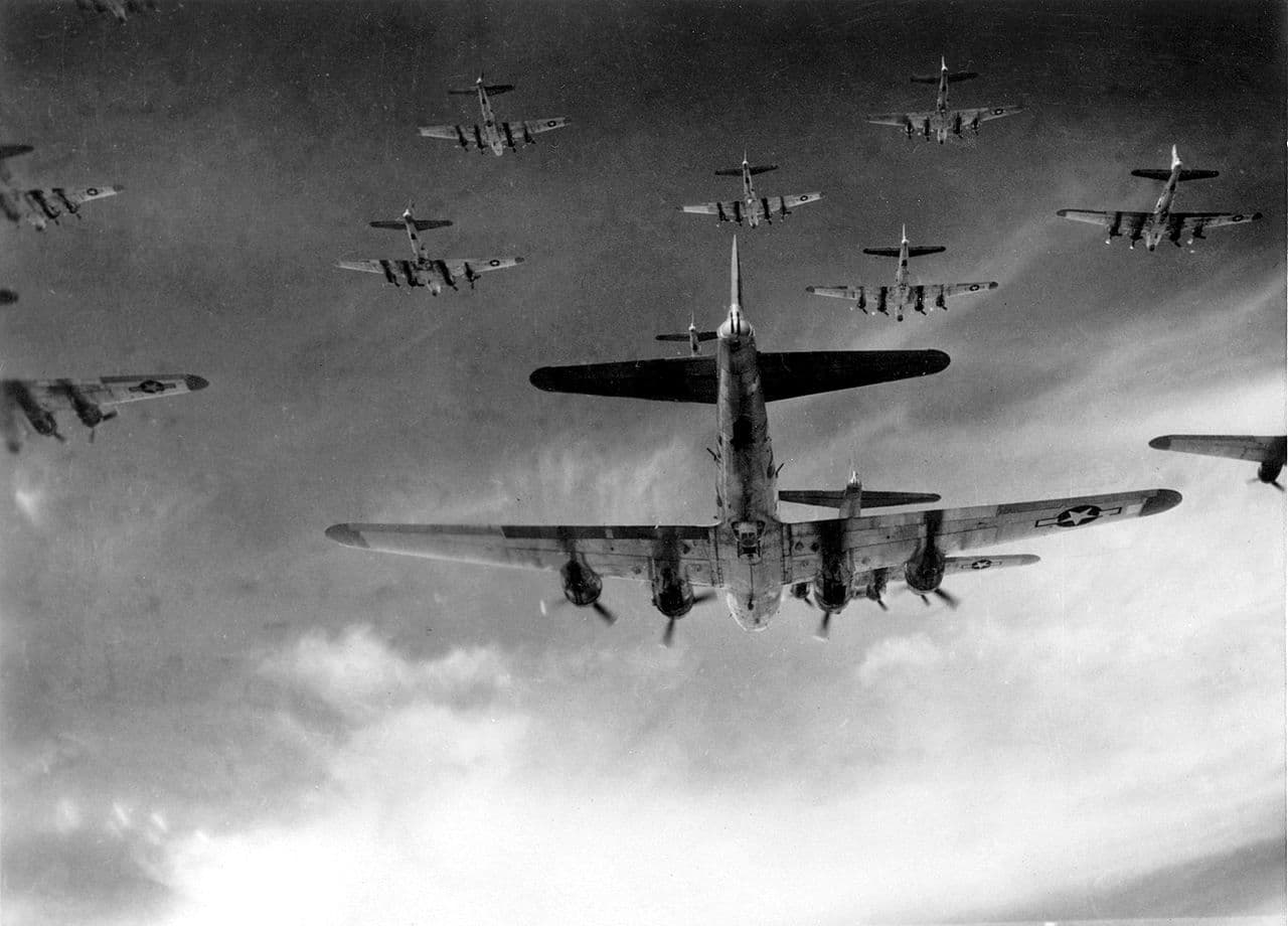 Formatie B-17 Flying Fortress bommenwerpers