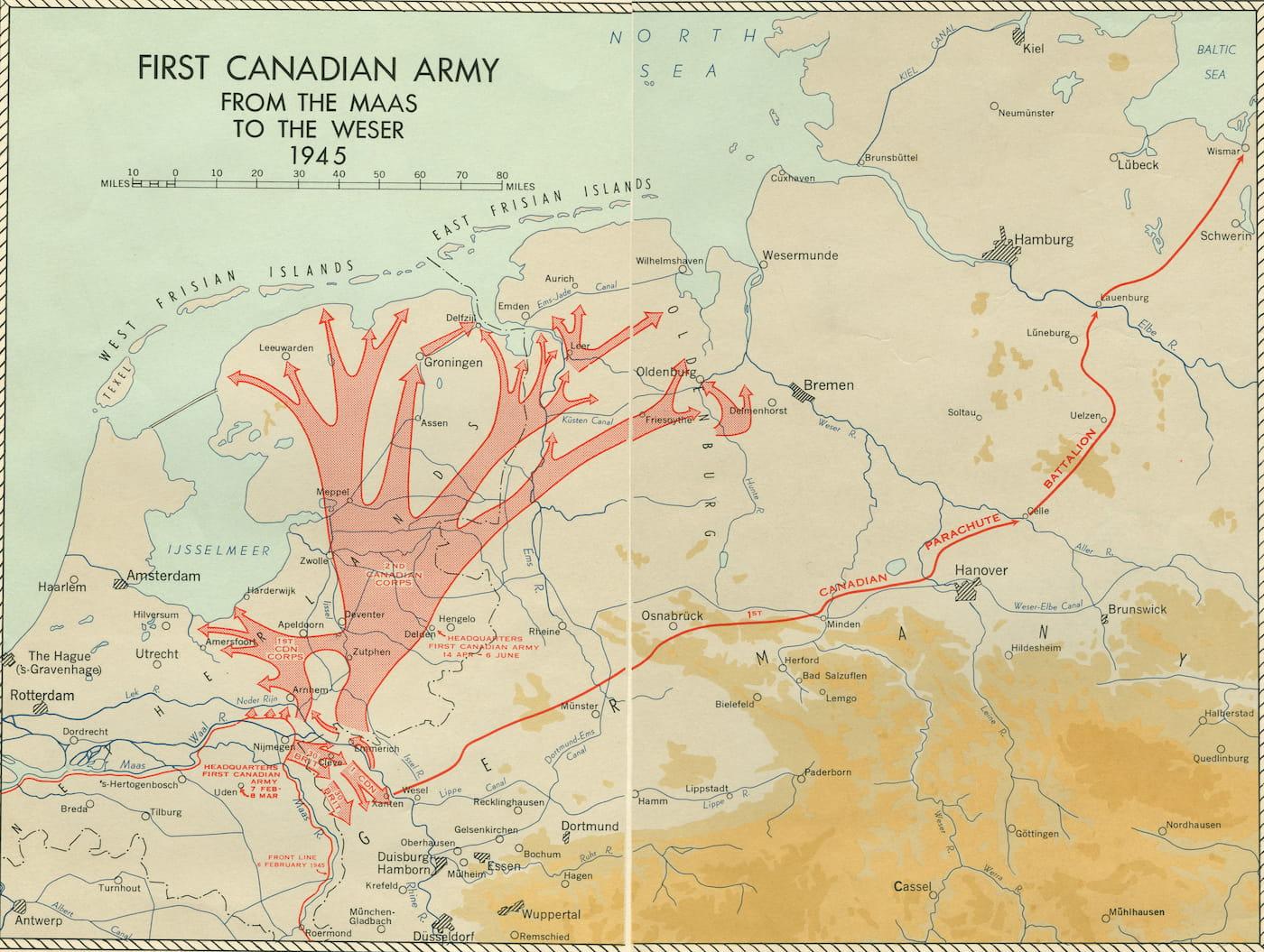 Het 1e Canadese leger van de Maas naar de Weser
