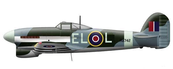 Typhoon. De markering op dit toestel is die van 181 Squadron; het vliegtuig van Zinnicq Bergman droeg de letters EL–L.