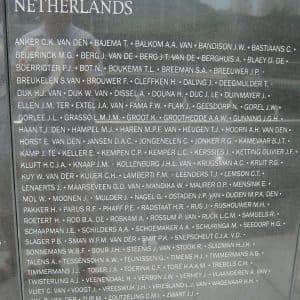 Nederlandse namen op de herinneringsmuur