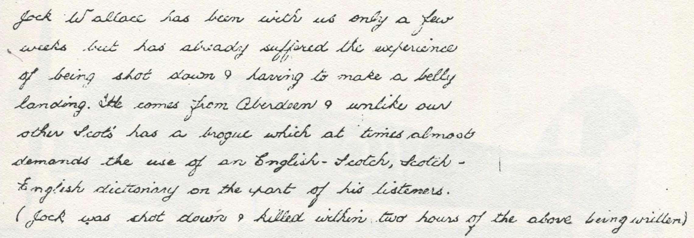 briefje van een collega vlieger uit 181 Squadron