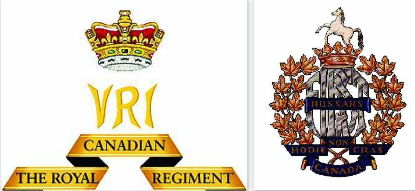 emblemen Royal Canadian Regiment en 1st Hussars