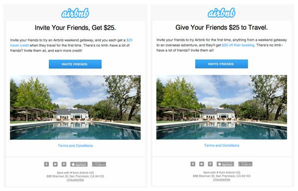 Airbnb testing different referral invitations
