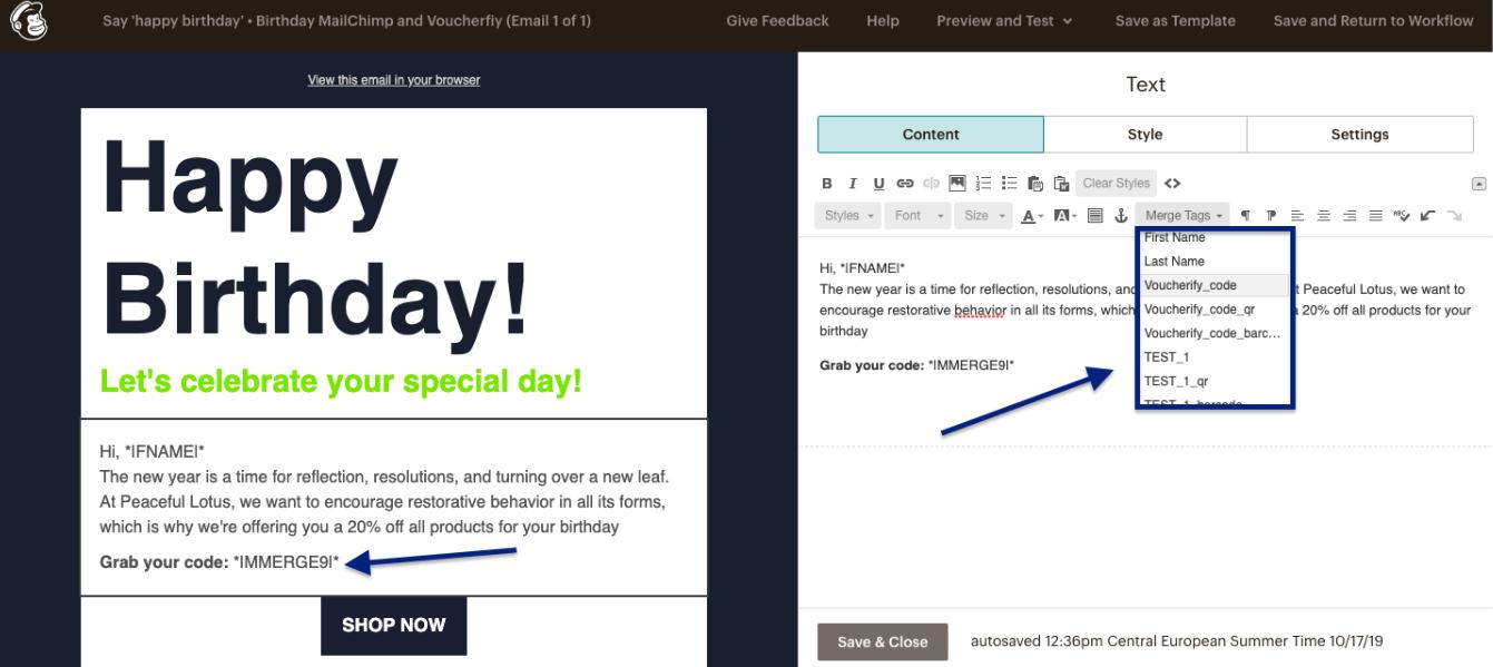 MailChimp coupon code