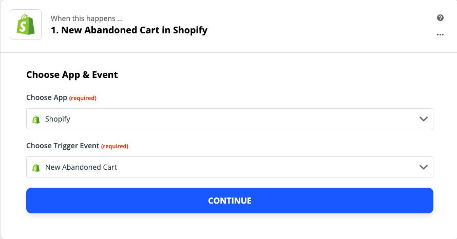 Tracking abandoned carts in Shopify and using it as a trigger for Voucherify action