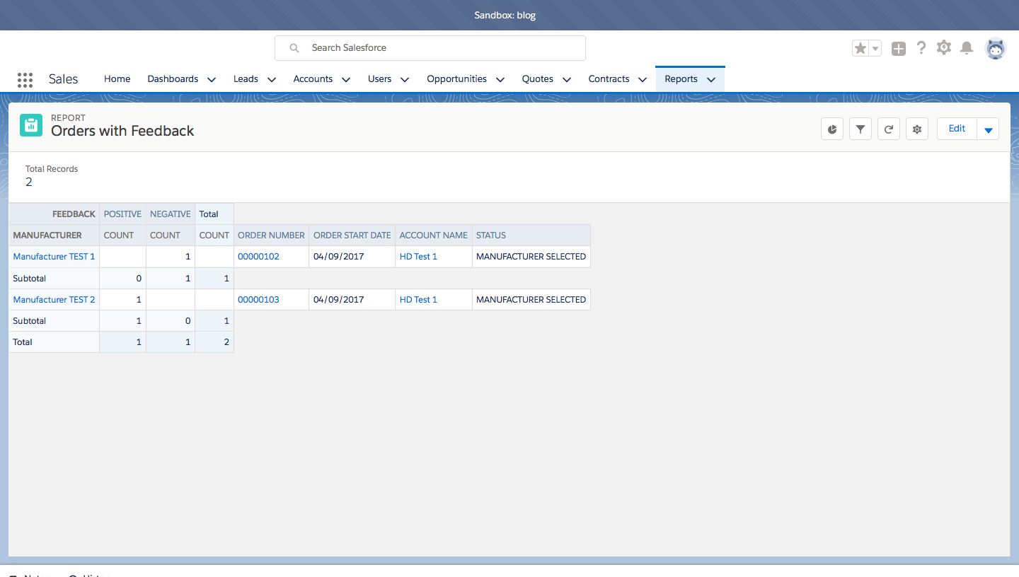 SalesForce report on orders with feedback