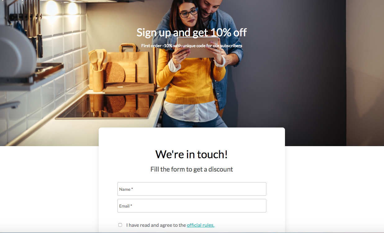 Landing page with a sign-up form