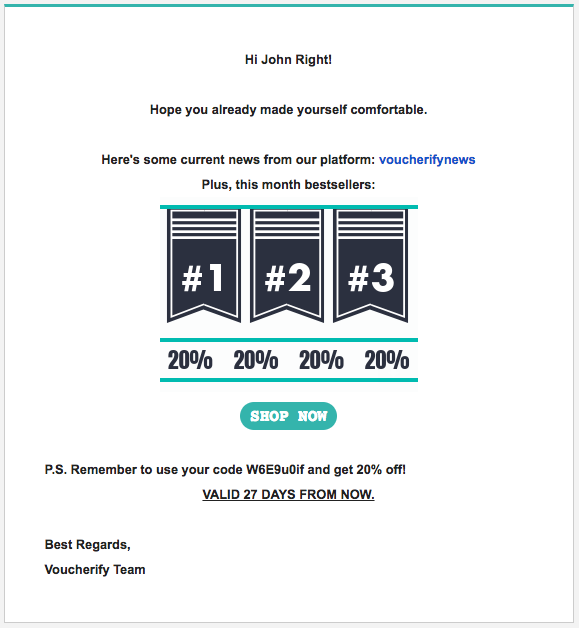 The first email coupon reminder sent after 2 days of not utilizing the code
