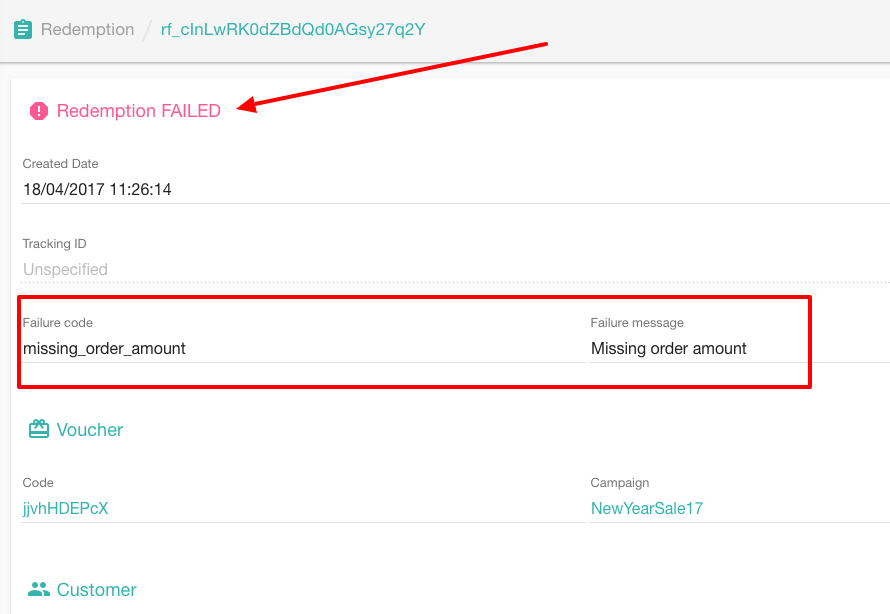 Failed redemption tracking in Voucherify
