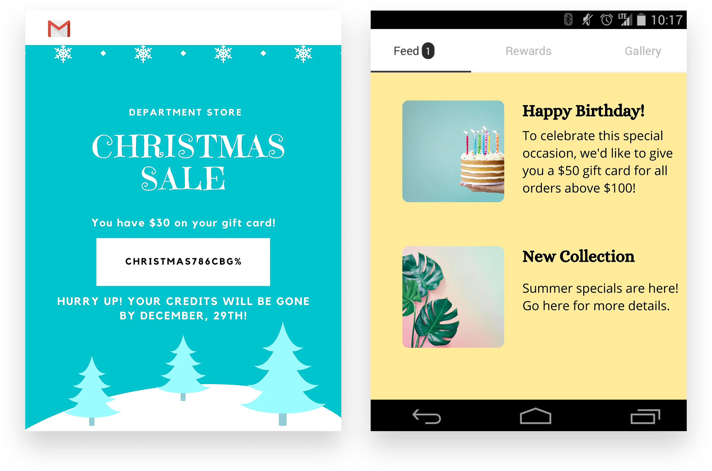 Gift cards examples with Braze  Voucherify