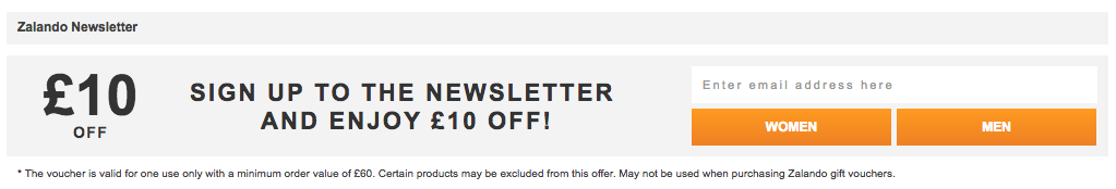 Zalando welcome new subscribers coupon campaign