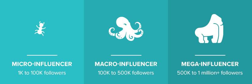 Micro, macro and mega influencers